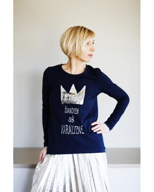 """Marškinėliai """"Karalienė"""" mėlyni"""