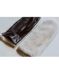 SJGOODS odinės pirštinės su audinės kailiu