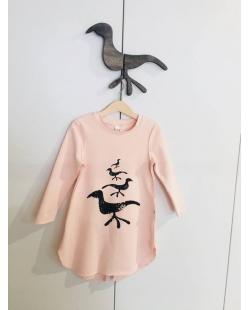 """Suknelė """"Paukščiai""""  rausva"""
