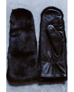 SJGOODS odinės pirštinės su audinės kailiu (juodos)