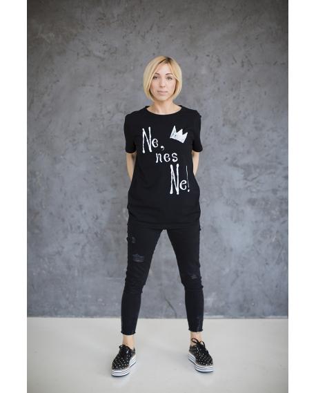 """Marškinėliai """"NE"""" juodi"""