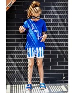 Mėlynos spalvos dryžuoti šortai