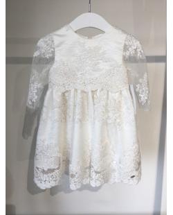 Balta gipiūro suknelė ilgomis rankovėmis