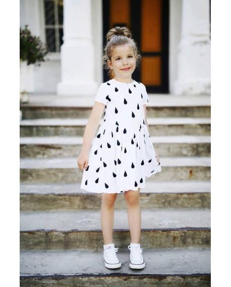 """Vaikiška """"Lašų"""" suknelė balta"""
