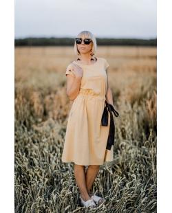 Atostogų suknelė garstyčių spalvos