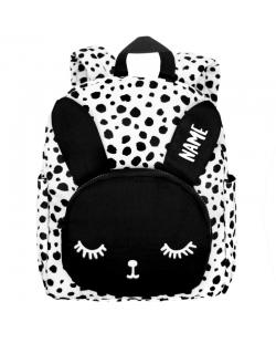 """Kuprinė su pageidaujamu vardu""""Backpack Bunny White Dots BIG"""""""