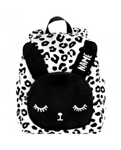"""Kuprinė su pageidaujamu vardu""""Bunny Backpack White Leopard Name Big"""""""