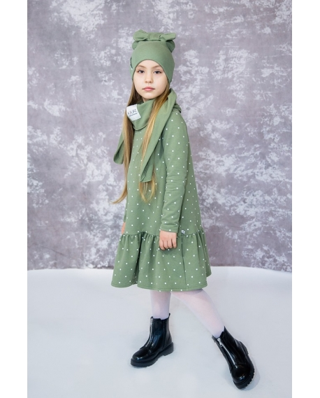 """""""Taškuota"""" žalsva vaikiška suknelė"""